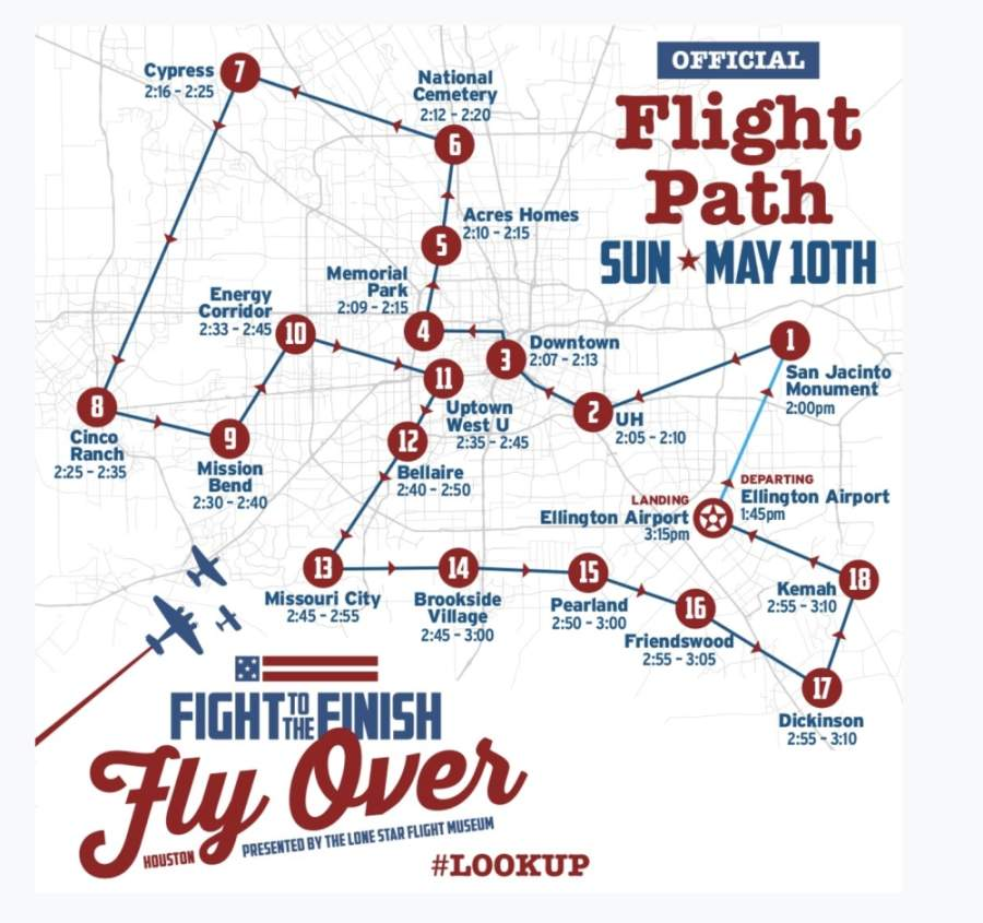 The May 10 flyover flight path includes Pasadena, the San Jacinto Monument, University of Houston—Main Campus, downtown Houston, Memorial Park, Acres Homes, Houston National Cemetery, Cypress, Cinco Ranch, Mission Bend, the Energy Corridor, West University Place, Bellaire, Missouri City, Alvin, Pearland, Friendswood, Dickinson and Kemah. (Courtesy of Lone Star Flight Museum)