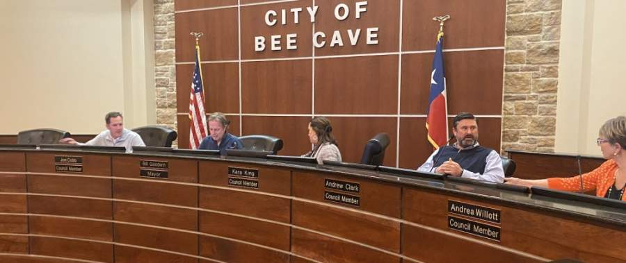 Bee Cave City Council, shown here during a Feb. 25 meeting, will meet May 12. (Brian Rash/Community Impact Newspaper)