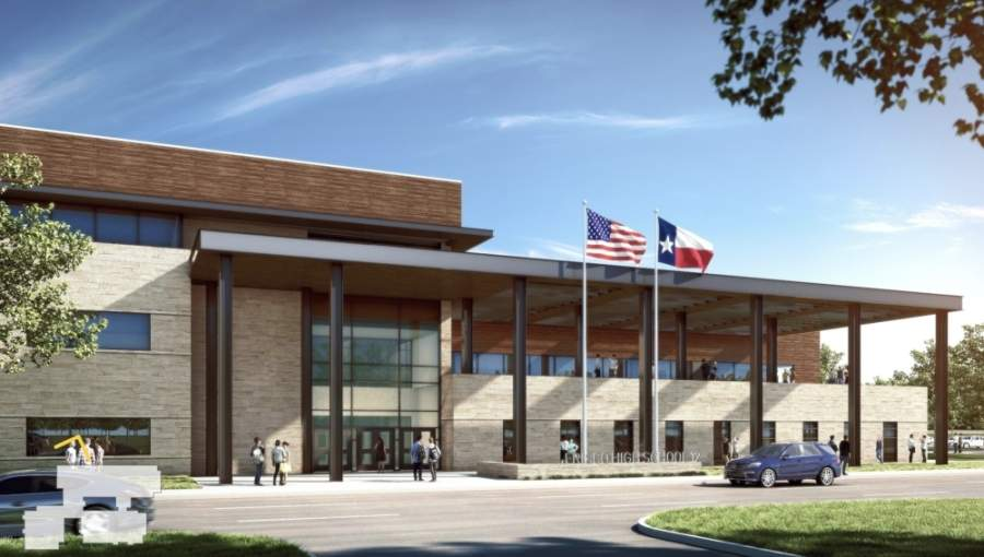 Frisco ISD's 12th high school will be located near Teel and Rockhill parkways. (Rendering courtesy Corgan, Frisco ISD)