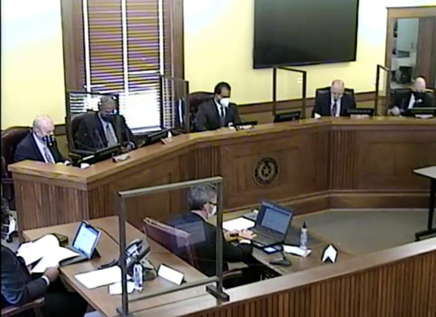 The Fort Bend County Commissioners Court met for its regular meeting at the county courthouse in Richmond on May 12. (Screenshot via Fort Bend County)