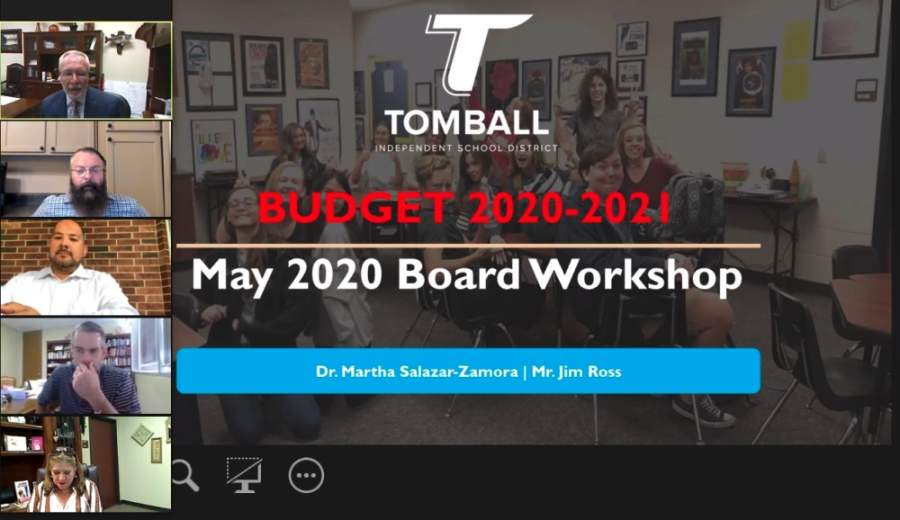 The Tomball ISD board of trustees convened remotely May 11 for a budget workshop to preview the fiscal year 2020-21 budget. (Screenshot courtesy Tomball ISD)
