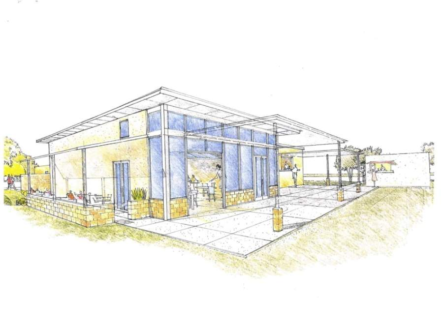 The project includes a small indoor bar with seating, an outdoor patio, and space for about four food trucks or mobile vendors. (Rendering courtesy city of Dripping Springs)
