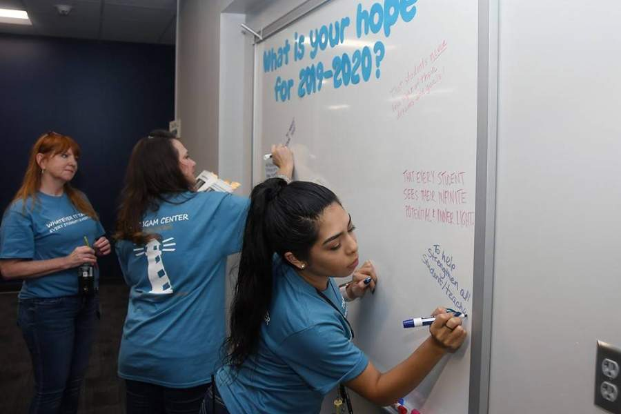 Brautigam Center staff members welcome students on the first day of school in August 2019. (Courtesy Cy-Fair ISD)