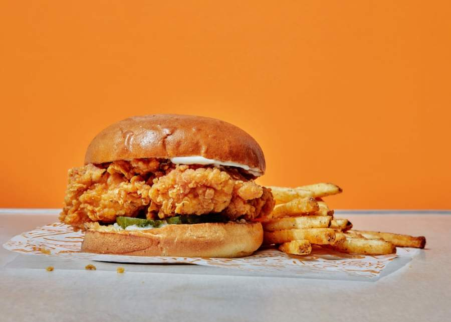 The Popeyes chicken sandwich is one of many menu items offered at the fast-food restaurant. (Courtesy Popeyes Louisiana Kitchen)