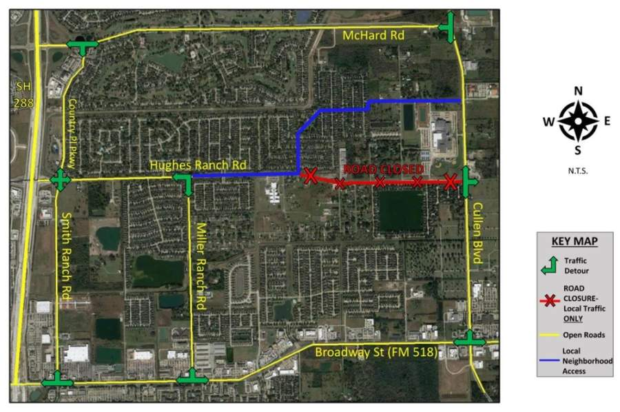 The city of Pearland has made a map of alternate routes while Hughes Ranch Road is closed. (Courtesy city of Pearland)