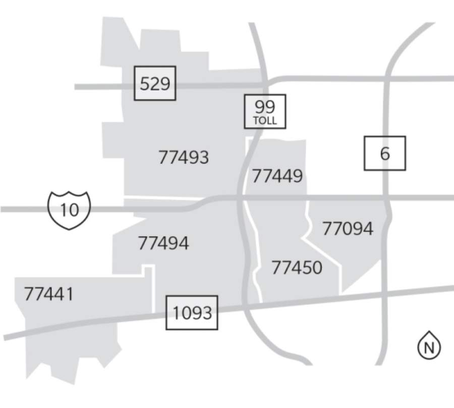 This map indicates the locations of the six Katy-area ZIP codes. (Anya Gallant/Community Impact Newspaper)