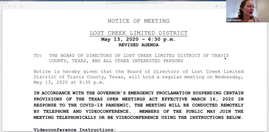The Lost Creek Limited District met virtually May 13. (Screenshot courtesy Lost Creek Limited District)