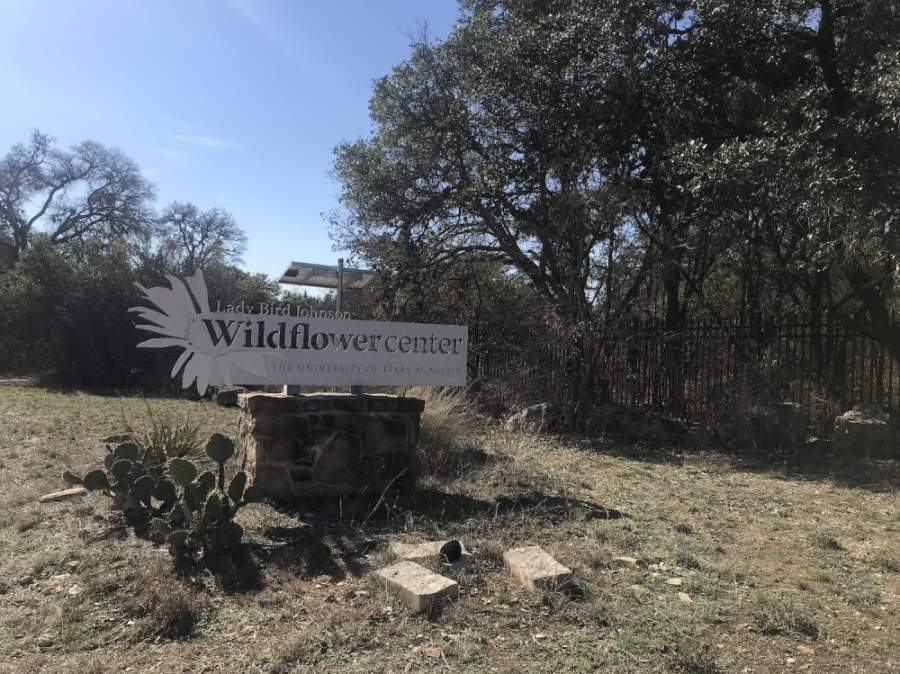 A photo of the Wildflower Center welcome sign