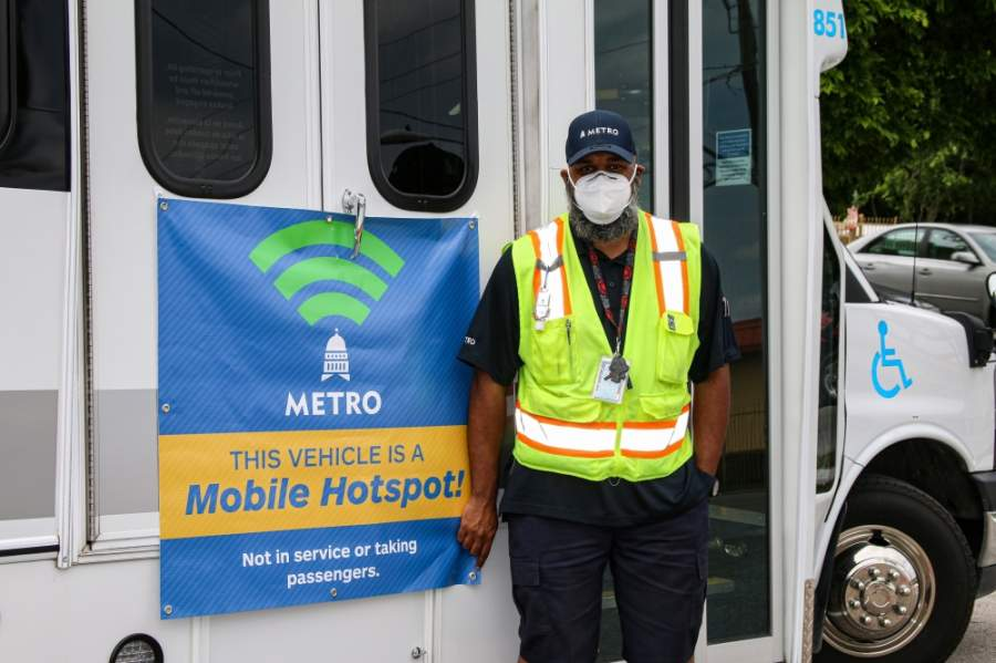 Capital Metro is using its MetroAccess buses as mobile hot spots to provide internet to areas of need. (Courtesy Capital Metro)