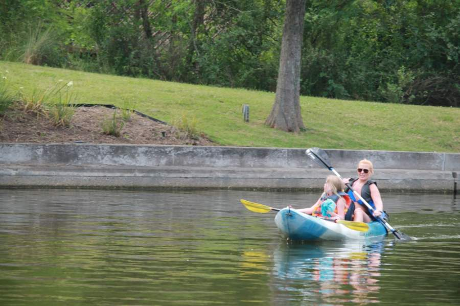 Public spaces, such as The Woodlands Waterway, saw visitors return May 7. (Andy Li/Community Impact Newspaper)