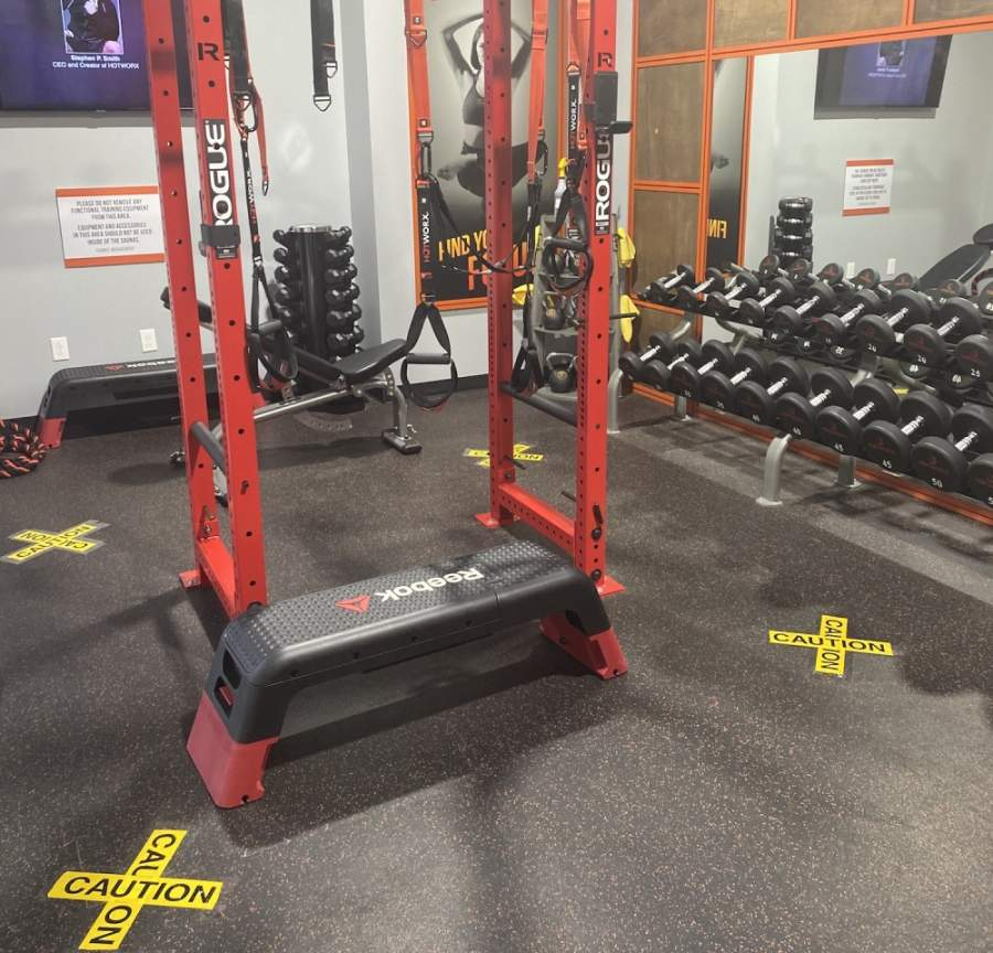 The floor in the weight room at Hotworx has been marked to enforce six-feet distancing, owner Sherry Majecki said. (Courtesy Hotworx)