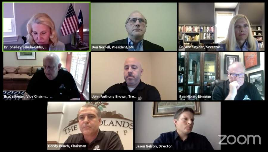 The Woodlands Township board of directors met via Zoom for a May 14 meeting. (Screenshot via Zoom courtesy The Woodlands Township)