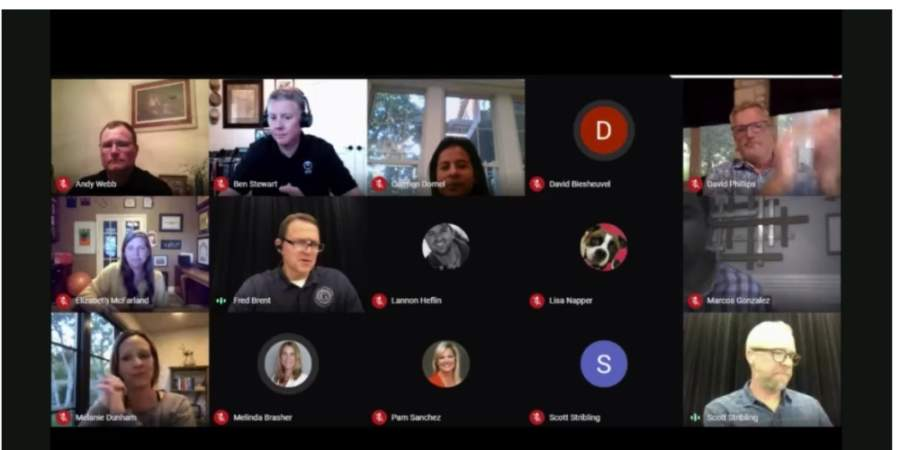 The Georgetown ISD board of trustees met virtually for its May 18 meeting. (Screenshot courtesy Georgetown ISD)