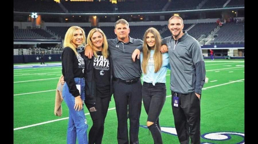 Coach John Walsh, here with his family, will join San Marcos CISD as athletic director and head coach of the Rattlers football team. (Courtesy San Marcos CISD)