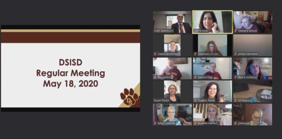 A screen grab from the DSISD board of trustees meeting