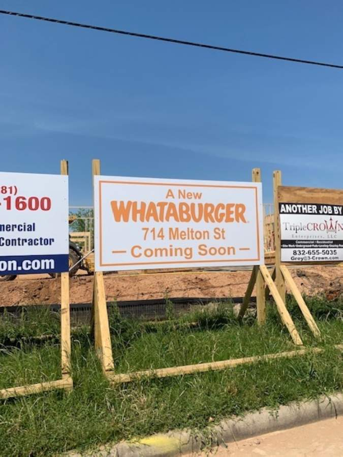 Magnolia's Whataburger, to be located at 714 Melton St., is scheduled to open between August and September. (Chirssy Leggett/Community Impact Newspaper)