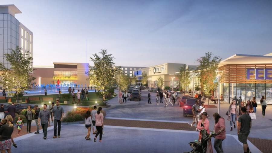 The Mustang Square development will bring stores, restaurants, entertainment businesses and residential communities to the southwest corner of SH 121 and Rasor Boulevard. (Rendering courtesy NAI Robert Lynn)
