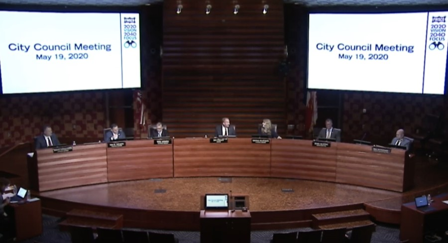 Mayor Pro Tem Will Sowell and Deputy Mayor Pro Tem Shona Huffman took their new seats on either side of Mayor Jeff Cheney during Frisco City Council's May 19 meeting. (Screenshot courtesy city of Frisco)