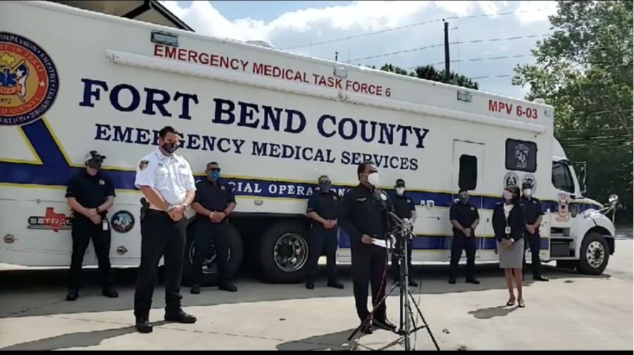 Fort Bend County officials and fire departments announce the launch of the COVID-19 Testing Strike Team at a May 20 press conference. (Screenshot via KP George Facebook live video)