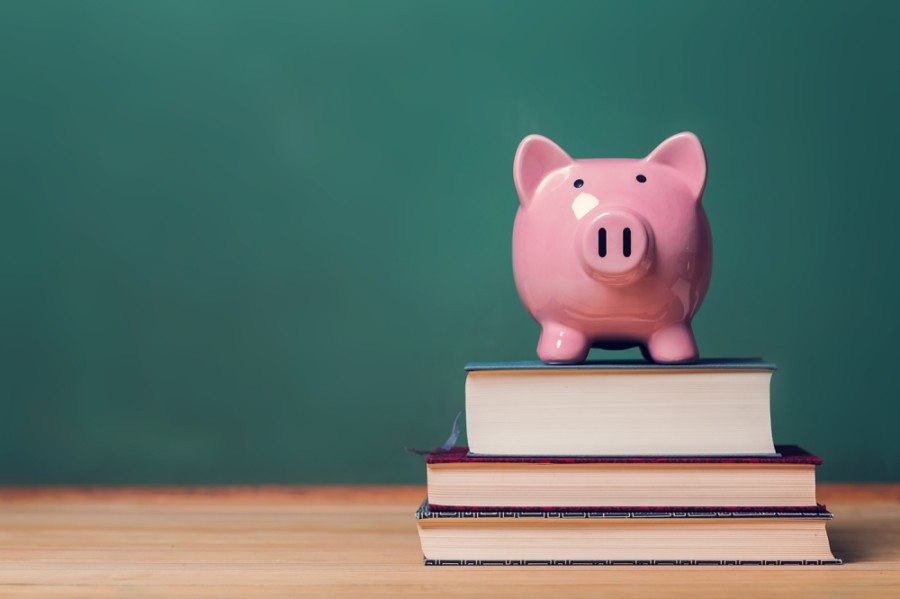 A photo of a pink piggy bank sitting on top of three stacked books, in front of a green wall