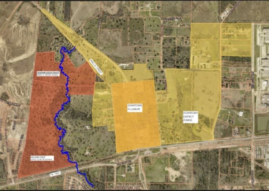Shaded in red, a mixed-use development is planned for the west side of Fulshear. (Screenshot via Fulshear City Council)