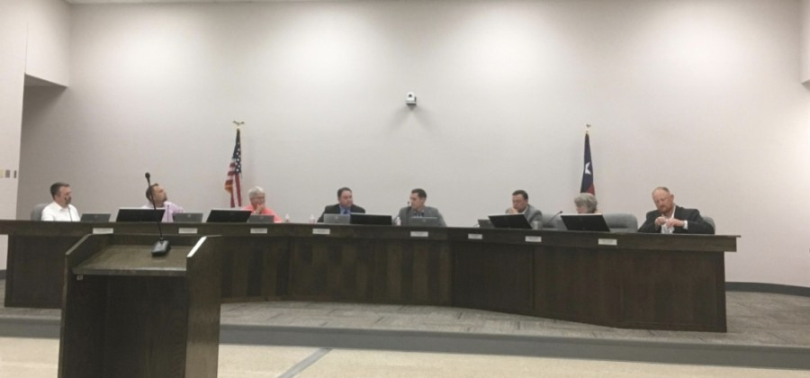 The Montgomery ISD board of trustees, pictured here from an earlier meeting, met May 21 to interview candidates for the interim superintendent position. (Eva Vigh/Community Impact Newspaper)