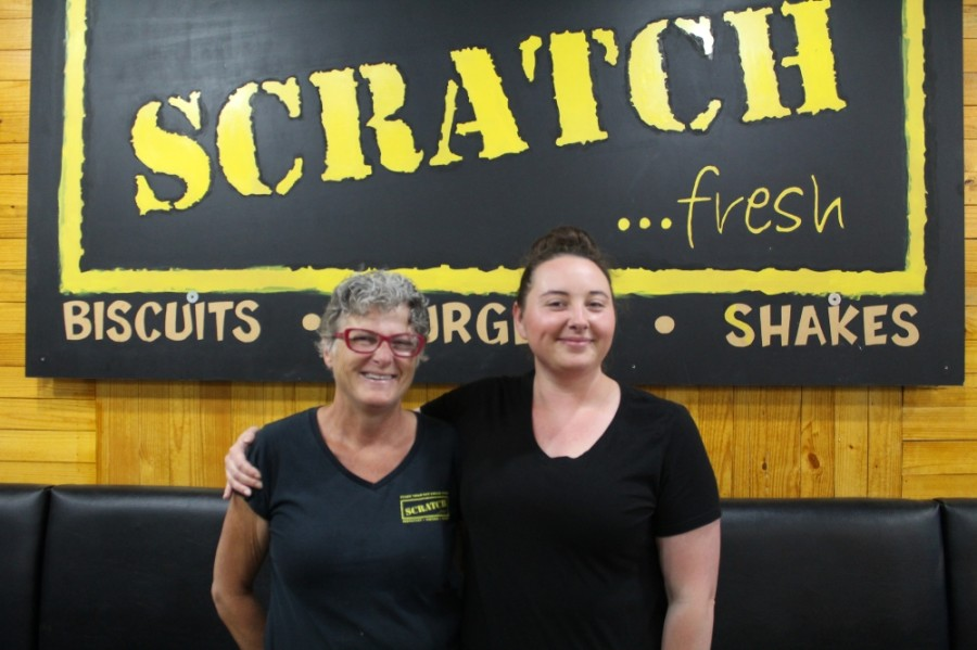 Mother-daughter duo Kelley (left) and Samantha (right) Hughes opened Scratch...fresh in Milton 10 years ago, and chose to remain open while the COVID-19 pandemic shut down dining rooms in restaurants statewide through April 27. (Kara McIntyre/Community Impact Newspaper)