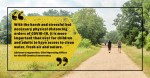 A photo of two women walking on a trail with a quote from the story
