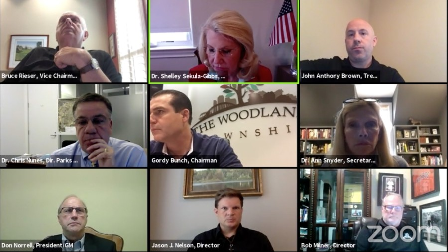 The Woodlands Township board of directors met for a regular meeting to discuss reopening facilities May 21. (Courtesy The Woodlands Township via Zoom)
