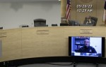 Austin-Travis County Health Authority Mark Escott gives a virtual coronavirus update to the Travis County Commissioners Court, led by interim Travis County Judge Sam Biscoe. (Courtesy Travis County)