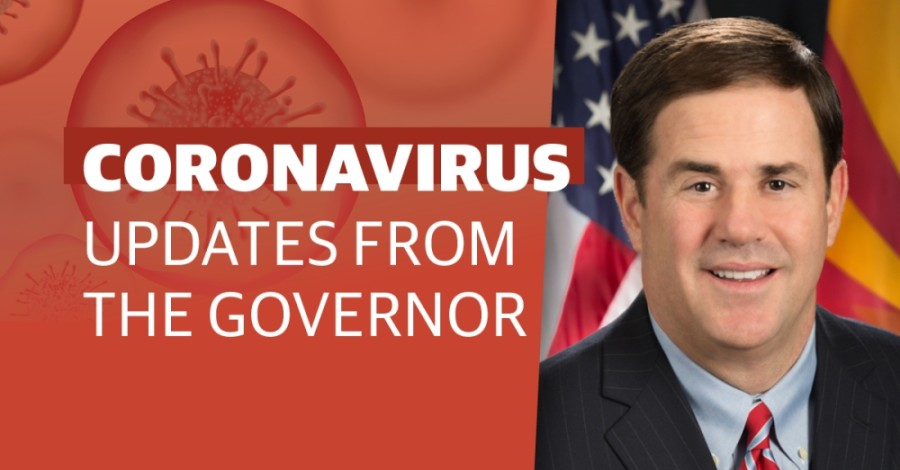 Gov. Doug Ducey spoke May 28 to provide a coronavirus update. (Community Impact staff)