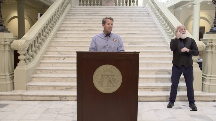 Gov. Brian Kemp announced additional guidelines May 28 for shuttered businesses to reopen as well as for summer camps, professional and amateur sports, bars and nightclubs and amusement parks. (Screenshot via Facebook Live)