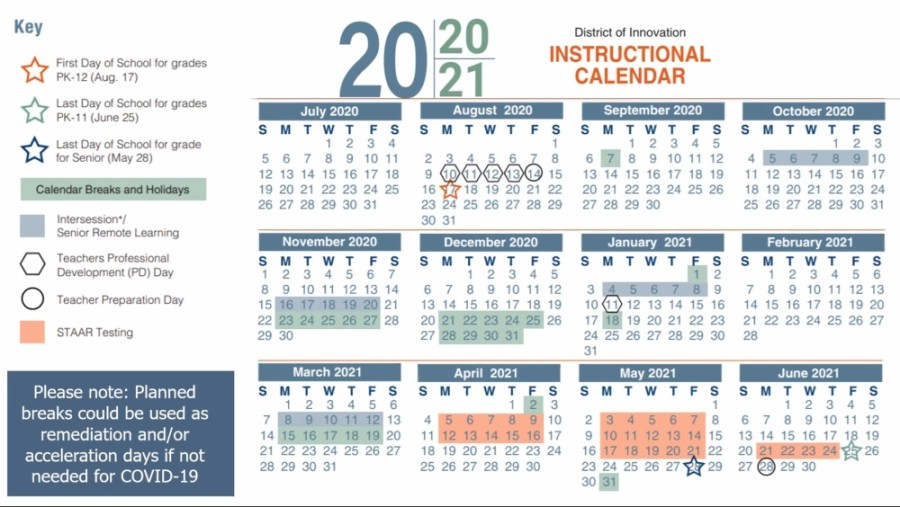 The Spring ISD board of trustees unanimously approved a revised 2020-21 instructional calendar during a special meeting May 28, which features intersessional breaks and runs Aug. 17, 2020-June 25, 2021. (Screenshot via Zoom)