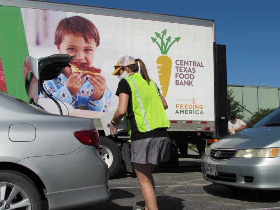 The Central Texas Food Bank hosted a food distribution event in South Austin May 28. (Nicholas Cicale/Community Impact Newspaper)