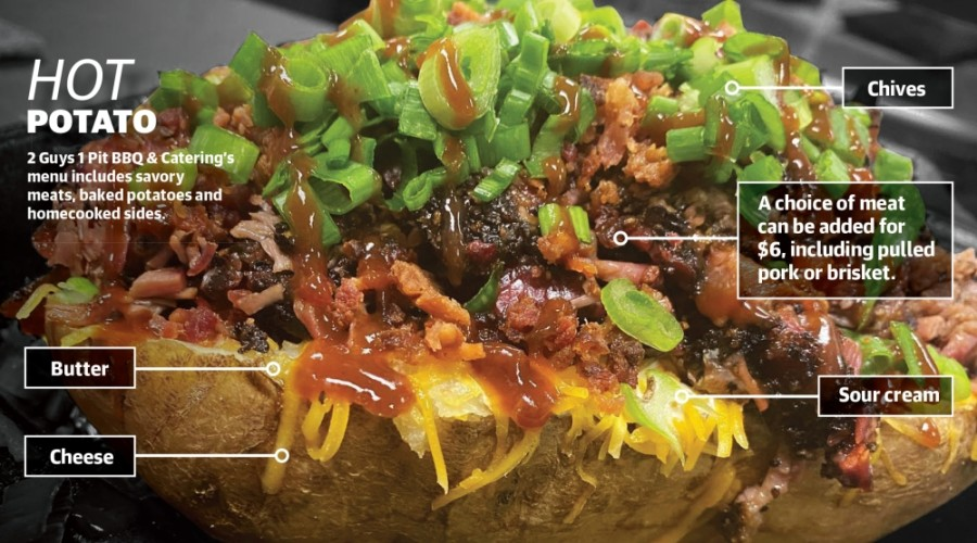 The Loaded Baked Potato ($8.95 ): Everything but the kitchen sink is added into this baked potato. (Courtesy 2 Guys 1 Pit BBQ & Catering)