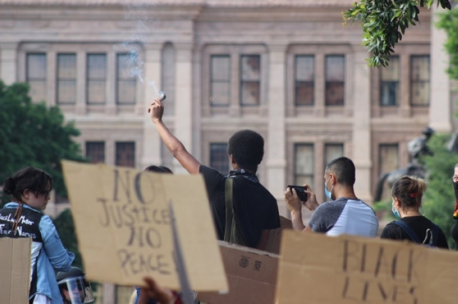 Demonstrators gather in front of the Texas Capitol on May 31 to protest police brutality. (Christopher Neely/Community Impact Newspaper)