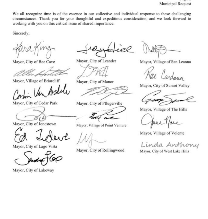 A group of 16 mayors from municipalities within Travis County have signed a letter to County Judge Sam Biscoe requesting a per capita approach to the issue of COVID-19 relief funding. (Screenshot courtesy Kara King)