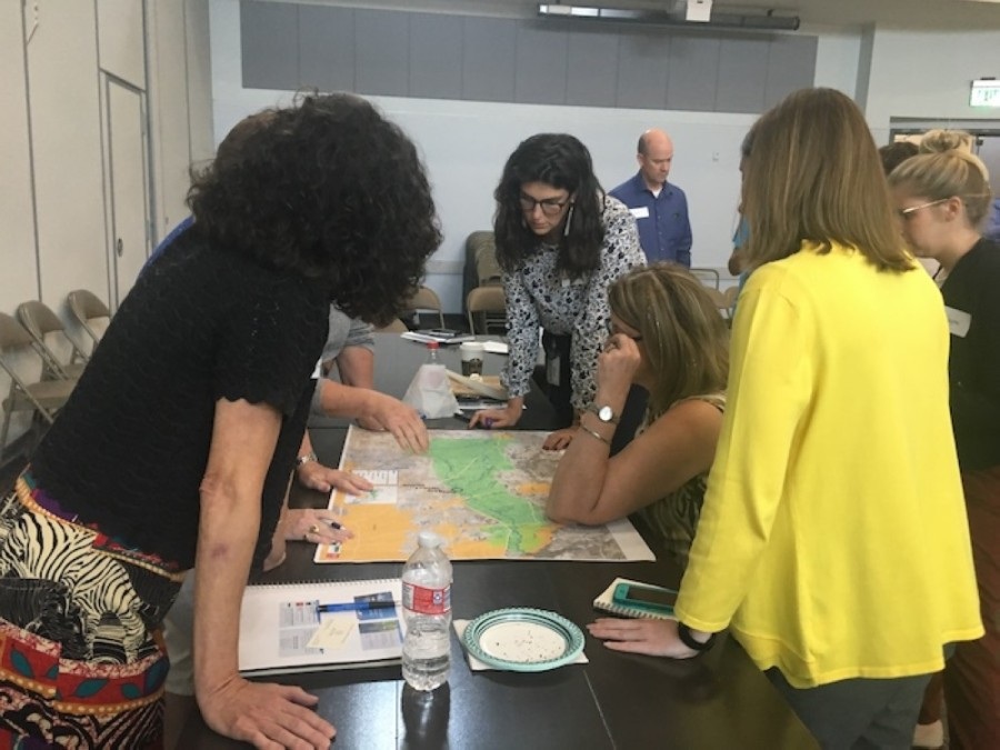 Attendees look over maps of Cypress Creek at the first meeting of the Cypress Creek Watershed Partnership in 2019. The partnership met again May 29 to discuss pollution sources and possible solutions to mitigate them. (Shawn Arrajj/Community Impact Newspaper)
