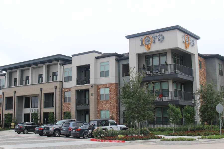 Renters and homeowners in Fort Bend County who are struggling to pay their bills can apply for financial assistance from federal funds received by the county. Pictured above is the 1879 apartment complex at The Grid in Stafford. (Claire Shoop/Community Impact Newspaper)