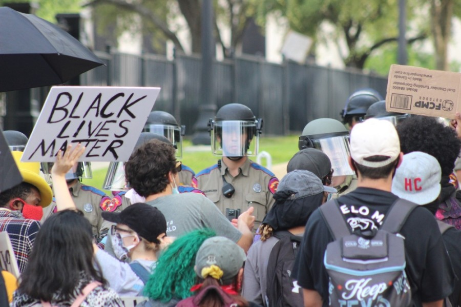 Protesters and Texas Rangers stood face to face during demonstrations at the Texas Capitol on May 31. (Christopher Neely/Community Impact Newspaper)