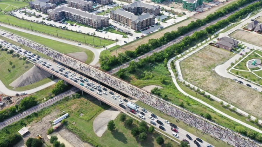 Mayor Jeff Cheney said an estimated 2,000 people marched along Eldorado Parkway as part of a protest in Frisco on June 1. (Courtesy Andrew Holden)
