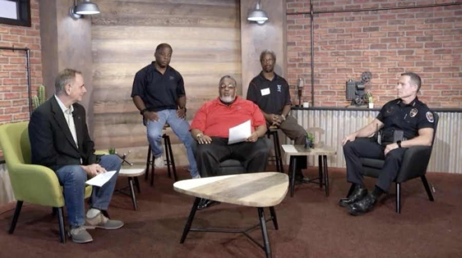 Chandler Mayor Kevin Hartke; Chandler Police Chief Sean Duggan; and Rev. Victor Hardy, the president and co-founder of Chandler Men of Action, sat down for a Facebook Live event June 1 to discuss the death of George Floyd in Minneapolis and the importance of unity in the city of Chandler. (Screenshot courtesy city of Chandler)