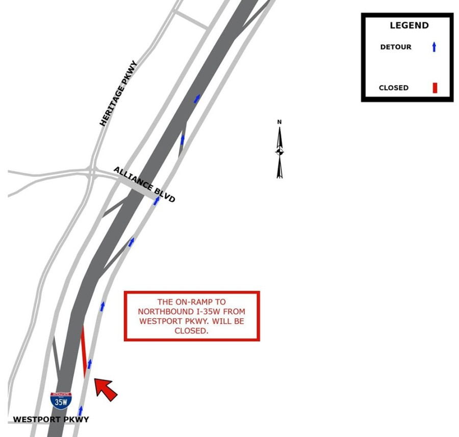 The on-ramp to northbound I-35W at Westport Parkway will be closed beginning June 30 through October. (Courtesy city of Fort Worth)