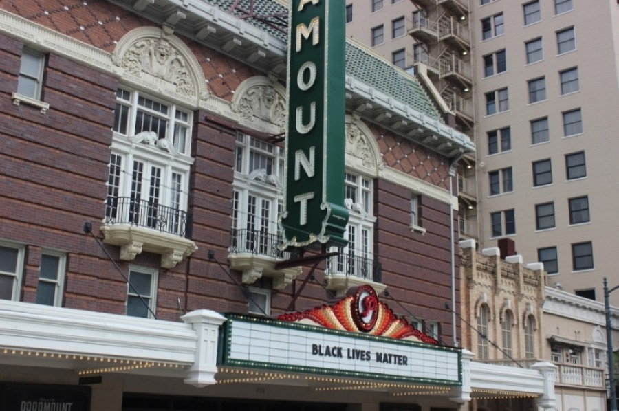 "The Paramount Theatre put up a message reading ""Black Lives Matter"" on its awning as protestors marched in the streets the weekend of May 30-31. (Christopher Neely/Community Impact Newspaper)"