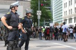 Houston police officers were deployed throughout downtown June 2. (Adriana Rezal/Community Impact Newspaper)
