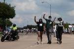 Protesters marched along Parker Road toward Dallas Parkway at a peaceful protest June 2. (Liesbeth Powers/Community Impact Newspaper)