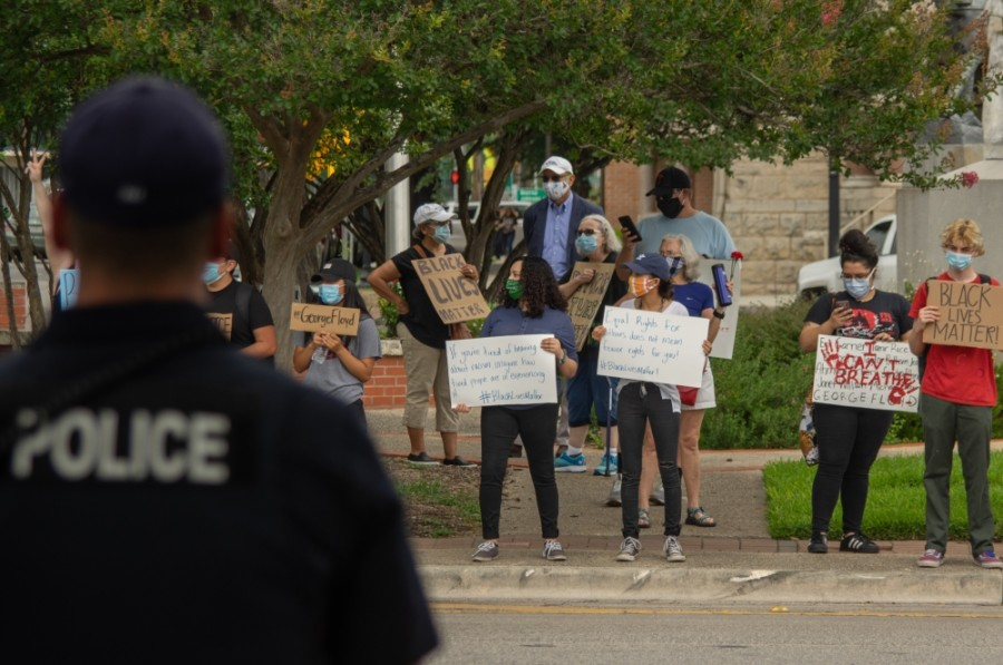 Well over 100 people participated in the New Braunfels Black Lives Matter protest on June 2. (Warren Brown/Community Impact Newspaper)
