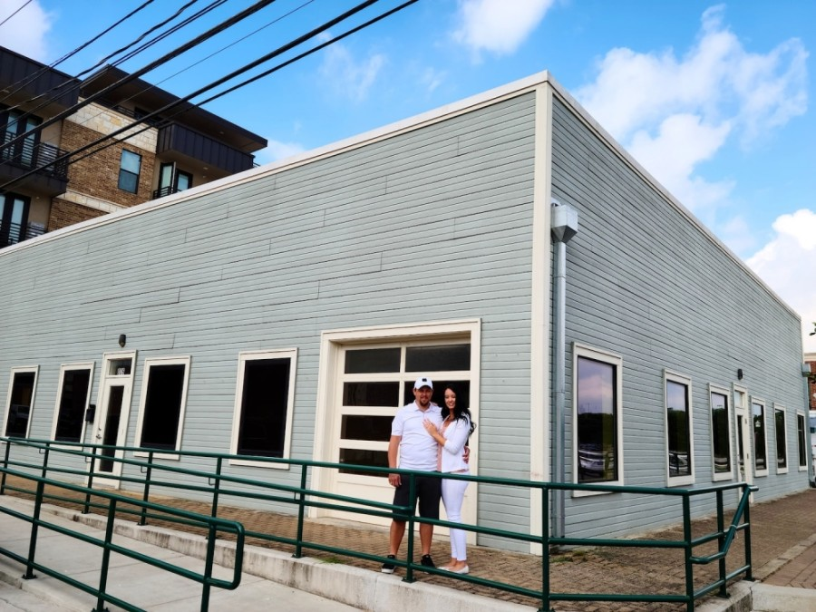 Nick and Coreena Ferrata stand outside the new Coreena's' Bridal location in downtown Georgetown. (Courtesy Coreena's Bridal)