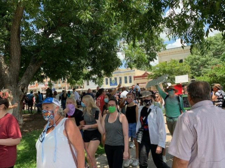 About 200-300 protesters gathered around the Georgetown Square on June 3 to protest police brutality and the death of George Floyd. (Courtesy Williamson County)