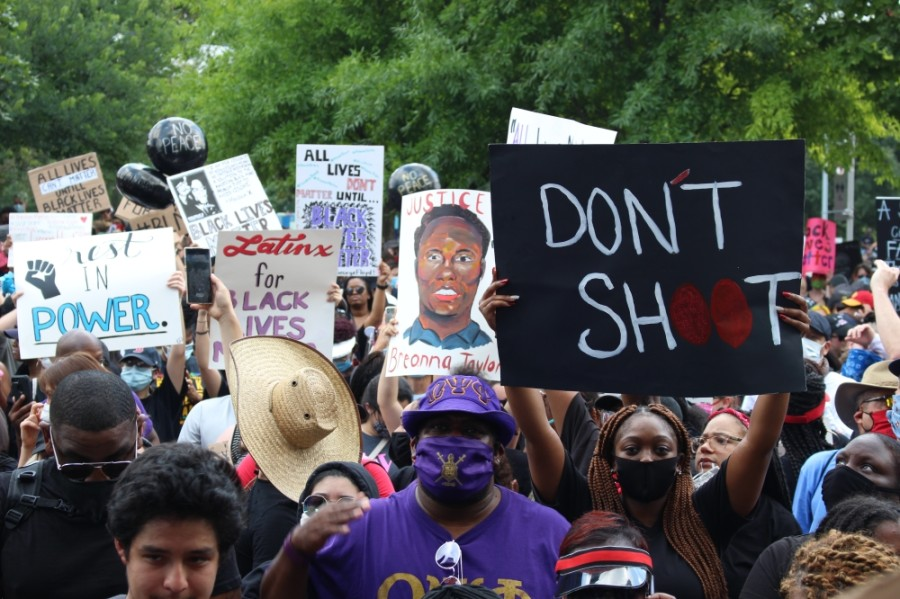 About 60,000 people gathered in downtown Houston at a June 2 march to to honor George Floyd. The June 4 Katy for Black Lives Matter Protest event organizers said they expect about 1,000 demonstrators for their march. (Nola Z. Valente/Community Impact Newspaper)